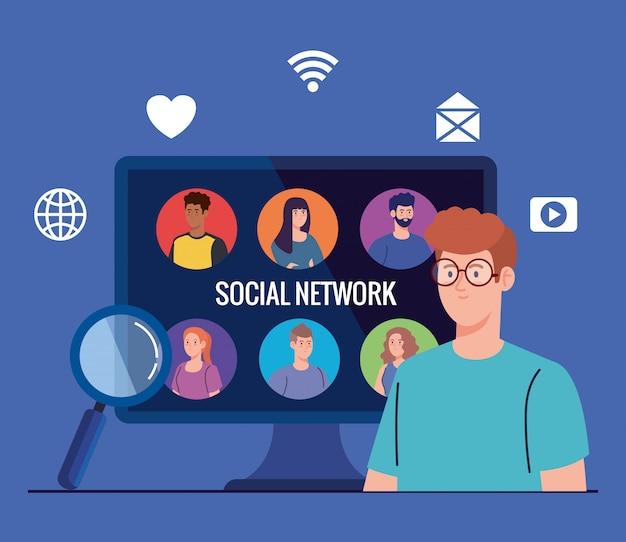 Red social, personas conectadas en computadora, interactiva, comunicarse y concepto global
