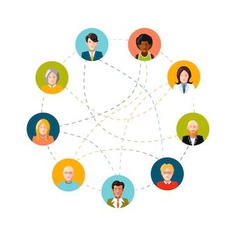 Red social con personas planas en blanco