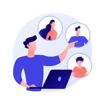 Red social. servicio de citas online, chat, comunicación por internet. personaje de dibujos animados de niña mirando perfiles con foto en la ilustración del concepto de redes sociales