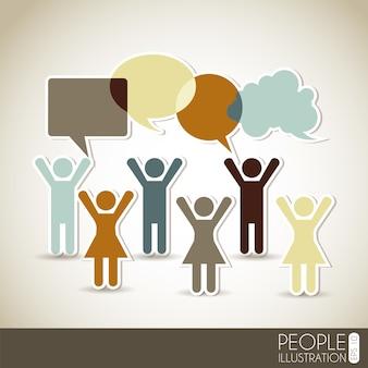 Red social sobre fondo beige ilustración vectorial