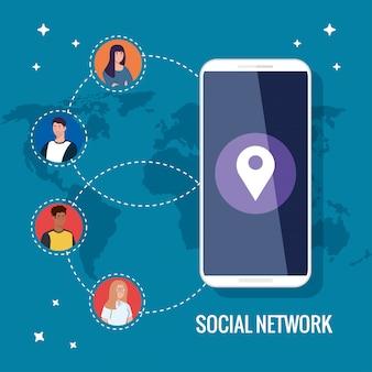 Red social, teléfono inteligente y personas conectadas para concepto digital, interactivo, de comunicación y global