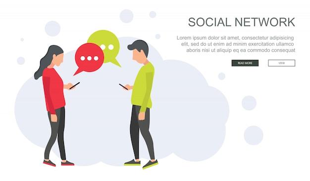 Red social y vector de chat