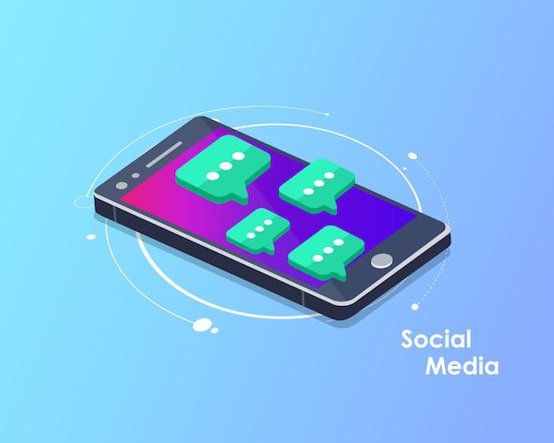 Red social y vector isométrico de chat
