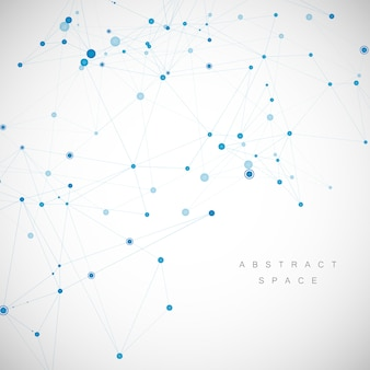Red de tecnología conectada con puntos y líneas. fondo creativo de ciencia