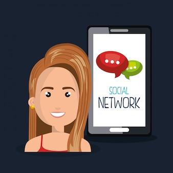 Red de teléfonos inteligentes mujer en línea aislada