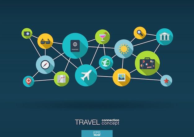 Red de viajes. fondo de crecimiento con líneas, círculos e iconos integrados. símbolos conectados para turismo, vacaciones, viaje, verano, vacaciones y conceptos globales. ilustración interactiva