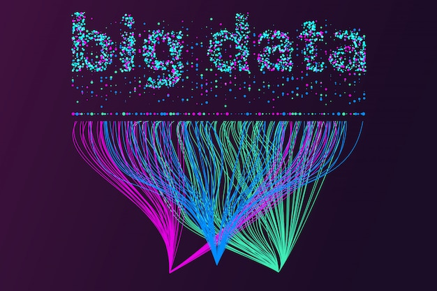 Red de visualización de grandes datos. infografía futurista, onda 3d, flujo virtual, sonido digital, música.