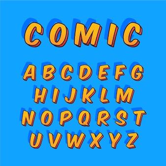 Redacción alfabética de la a a la z en cómic 3d