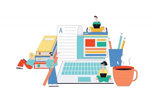 Redacción de artículos en línea: equipo de jóvenes escritores de personajes de dibujos animados en proceso creativo