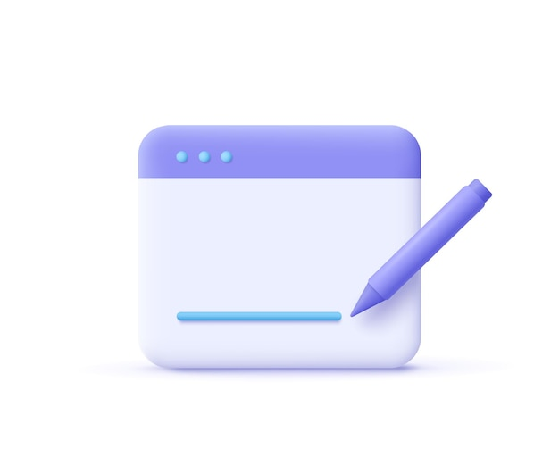 Redacción, icono de escritura. concepto de documento. página web y lápiz. ilustración de vector 3d.