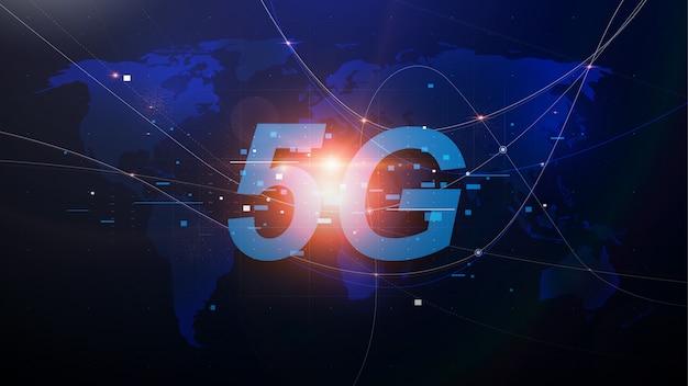 Redes 5g de nueva generación, internet móvil de alta velocidad. mapa del mundo abstracto con red y telecomunicaciones en la tierra. ilustración vectorial