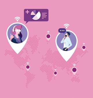 Redes - concepto de conexiones de negocios