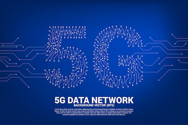 Redes móviles 5g de punto y línea de placa de circuito