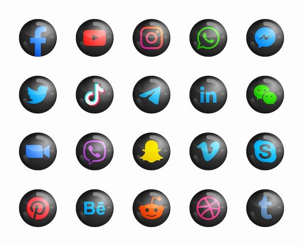 Redes sociales 3d modernos iconos negros redondos