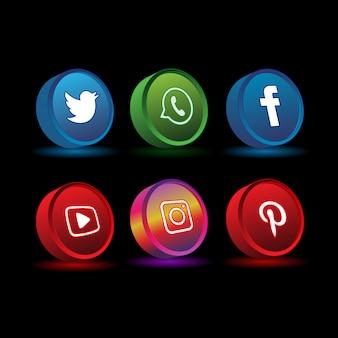 Redes sociales color 3d