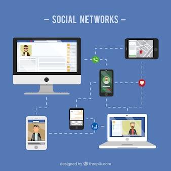 Las redes sociales concepto