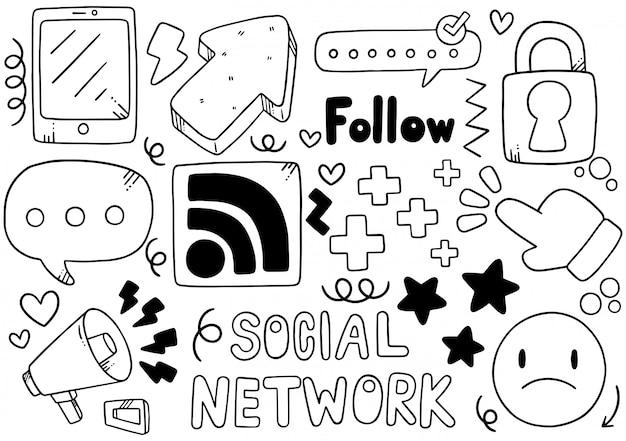 Redes sociales dibujadas a mano