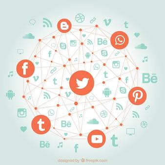 Las redes sociales en una forma geométrica