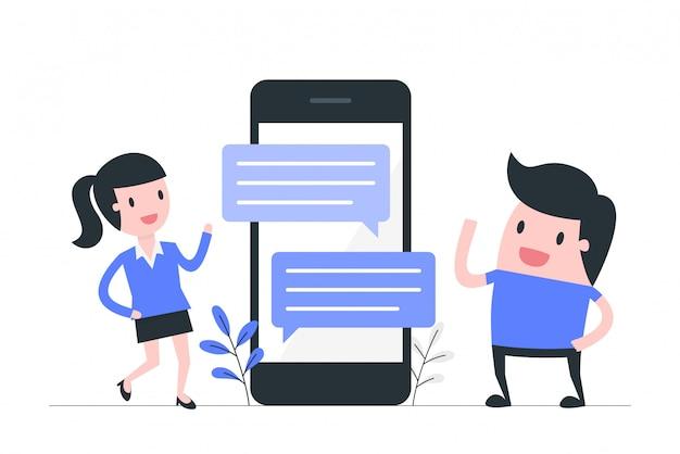 Las redes sociales y la ilustración del concepto de comunicación.