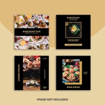Redes sociales instagram banner post feed venta de restaurante de comida de oro moderno de lujo