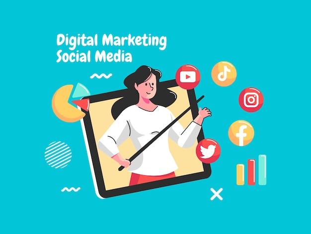 Redes sociales de marketing digital con análisis de datos.