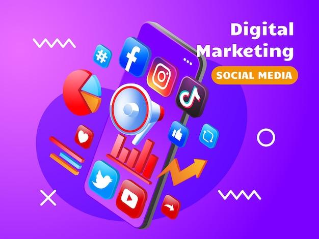 Redes sociales de marketing digital con teléfono inteligente y megáfono.