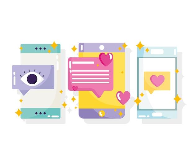 Redes sociales, mensajes de teléfonos inteligentes, chat, correo electrónico en la ilustración de estilo de dibujos animados