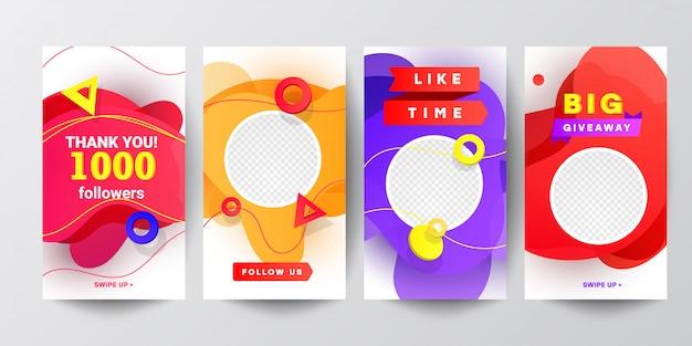 Las redes sociales modernas nos siguen en forma de banner con gradientes líquidos aislados en formas. dibujos animados plana