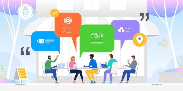 Redes sociales . noticias, redes sociales, chat, bocadillos de diálogo. ilustración
