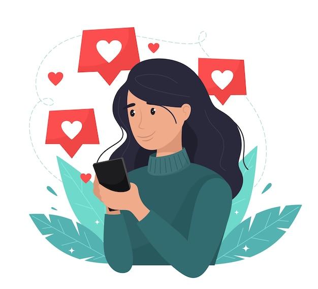 Redes sociales, promoción, concepto smm. niña feliz con teléfono móvil pone gustos. en estilo plano.