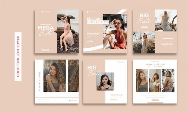 Redes sociales publicación plantilla colección instagram moda hermosa