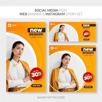 Redes sociales publican banner web y conjunto de historias de instagram