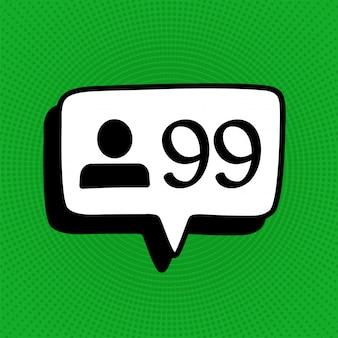 Las redes sociales siguen el icono de señal de notificación en estilo cómico.
