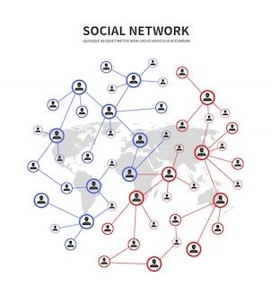Redes sociales y telecomunicaciones de personas, concepto de enlaces humanos con personas que comparten información