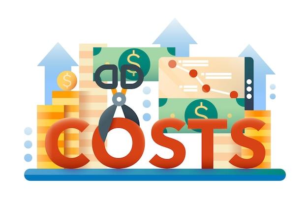 Reducir costos: ilustración moderna con pilas de monedas, billetes de un dólar, tijeras que cortan la palabra costos