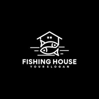 Referencia del logotipo de la casa de pesca, logotipo de pesca, con arte de línea simple