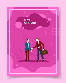 Refiera a un amigo apretón de manos de empresario para la plantilla de folleto
