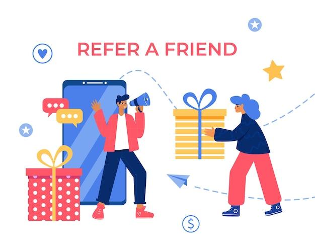 Refiera un concepto de amigo. hombre y mujer con megáfono y cajas de regalo.