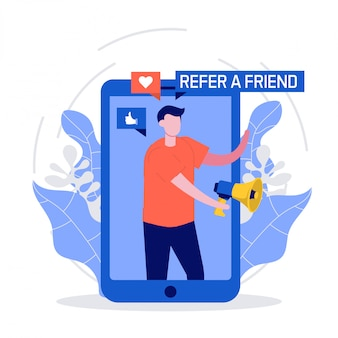 Refiera un concepto de amigo con teléfono inteligente y megáfono. las personas comparten información sobre referencias y ganan dinero.