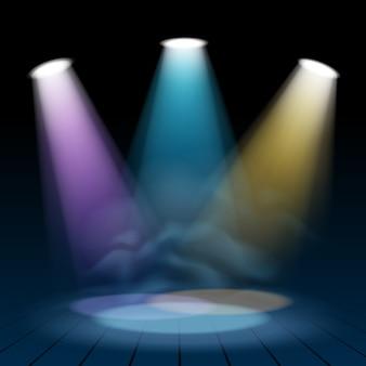 El reflector de floodlight ilumina el fondo de la escena