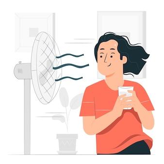 Refrescante de la ilustración del concepto de calor de verano