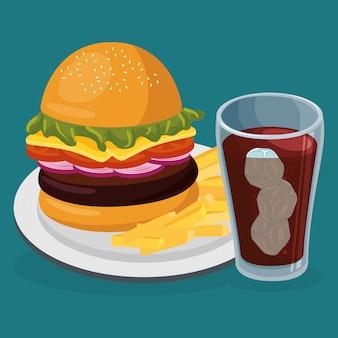 Refresco con comida rápida amburger