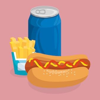 Refresco con hot dog y papas fritas comida rápida