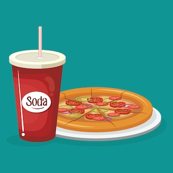 Refresco con pizza comida rápida