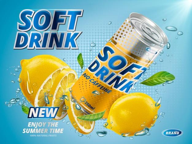 Refresco sabor limón contenido en lata de metal amarillo, bajo el agua