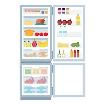 Refrigerador abierto y congelador lleno de comida, ilustración vectorial
