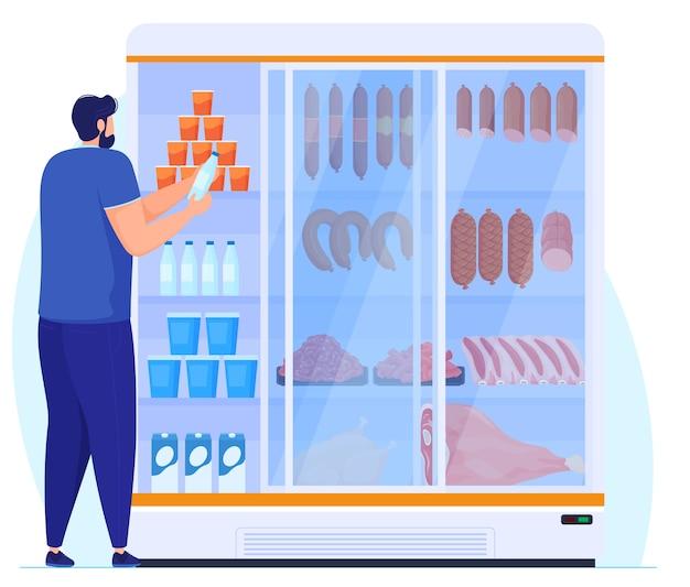 Refrigerador con alimentos, carne, productos lácteos en el supermercado, una persona elige un producto cerca del refrigerador. ilustración vectorial