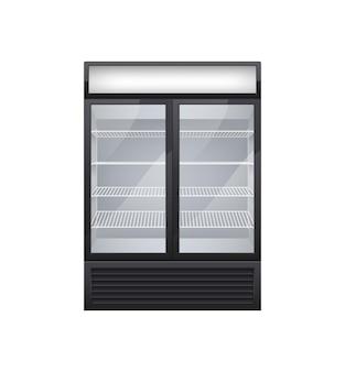 Refrigerador de bebidas con puerta de vidrio comercial, composición realista con imagen aislada de refrigerador de tienda con dos puertas de exhibición