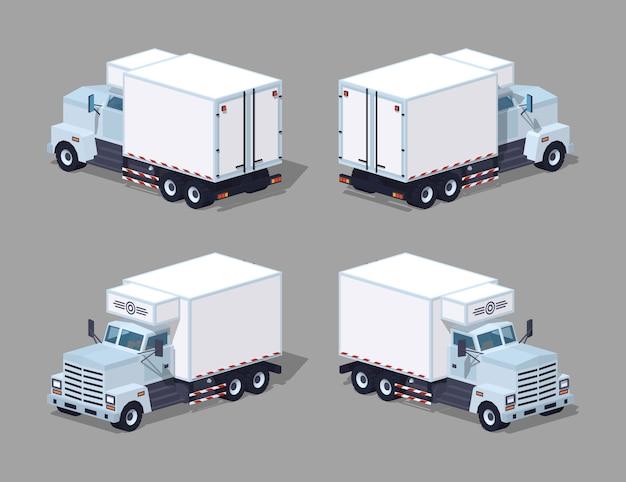 Refrigerador de camión blanco de baja poli