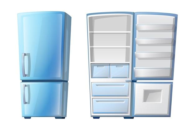 Refrigerador cerrado y abierto estilo dibujos animados con estantes. aislado